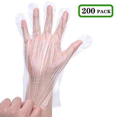 Zehhe Disposable Plastic Gloves Multipurpose Cleaning Plastic Hand Gloves for Kitchen Cooking Cleaning Safety Food Handling Large