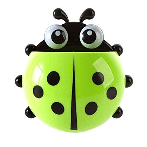 Steellwingsf Ladybug - Soporte para cepillos de dientes con ventosa para paredes y baños, diseño de mariquitas, Verde, talla única