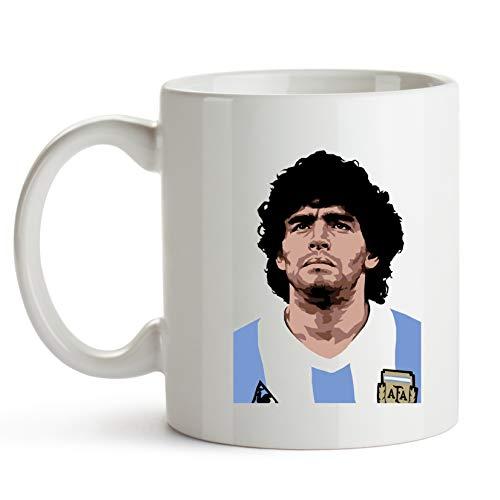 Zoilastore Taza Ceramica Personalizada Regalo Diego Maradona Mundial Mexico 86 D10S Pibe de Oro Pelusa Argentina