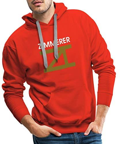 Spreadshirt Zimmerer Zimmermann Handwerk Zimmererzeichen Logo Männer Premium Hoodie, L, Rot
