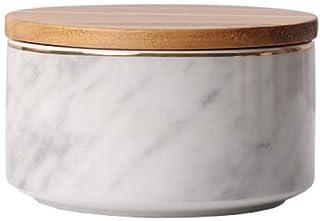 ZHTY Pots de Rangement en céramique avec Couvercle en Bois, récipients de Cuisine hermétiques en marbre de Style Nordique ...