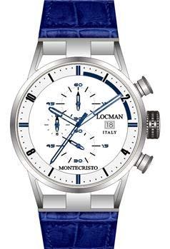 Locman montecristo cronografo Cinturino Blu QUADRANTE Bianco CO U