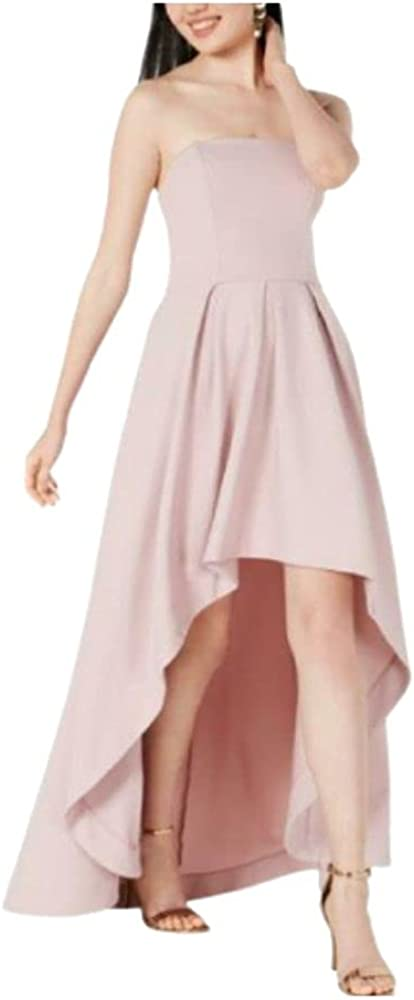Speechless Womens Pink Pocketed Sleeveless Strapless Maxi Hi-Lo Party Dress Size 1