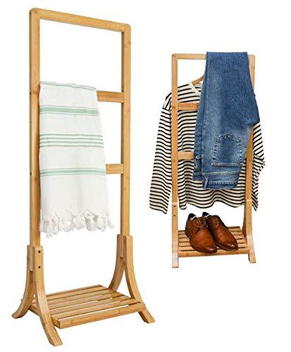 DuneDesign Toallero de Bambú Sostenible - 40x30x102 Ropero de Madera Toallero de Baño en Pie Libre