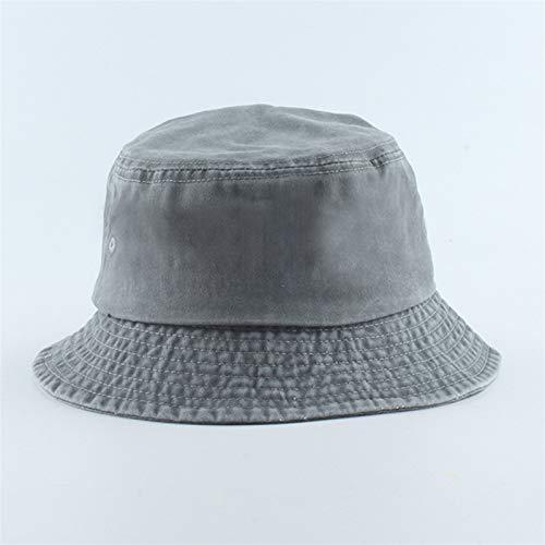 Sombrero de pescador plegable, sombrero de vaquero lavado, unisex, moda Bob, gorros, estilo hip hop, para hombres y mujeres, sombrero de pescador (color: gris, tamaño: cabeza 56 59 cm)