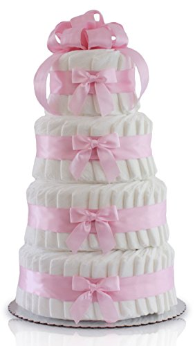 Classic Pastel Baby Shower Diaper Cake (4 Tier, Pink)