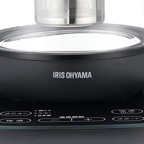 アイリスオーヤマ電気ケトルガラスタイプ1.5L9段階温度調節付保証付き保温設定付沸騰後自動OFFフィルター掃除可能茶こし付ブラックIKE-G1500T-B