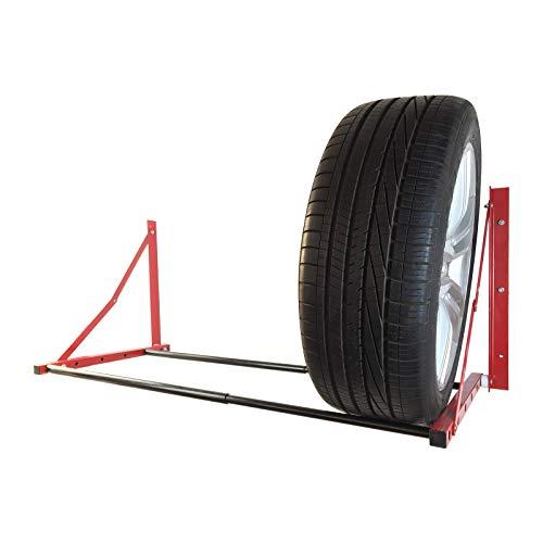 ROBLOCK Folding Tire Wheel Storage Rack Wall Mount Multi-Tire Rack Garage Storage (32'-48') x 22' x 22', Red