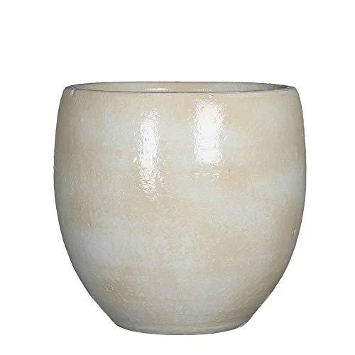 Mica Decorations Ingmar Bloempot, glad, glanzend, handgemaakt, H 27 x Ø 27 cm, bloempot gebroken wit