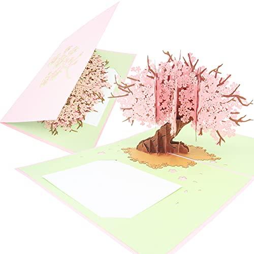 PopLife Cards Tarjeta emergente del día de las madres de la flor de cerezo para todas las ocasiones para el día de la madre, feliz cumpleaños, graduación, aniversario, consiga bien, tarjeta popup