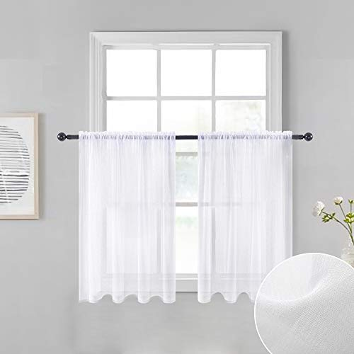 """MIULEE White Sheer Tiers Short Kitchen Curtains 36 inches Length,Linen Textured Semi Sheer Voile Drapes for Small Half Window Bathroom (29"""" x 36"""", White, 2 Panels)"""