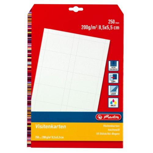 Herlitz 5020417 Visitenkarte unbedruckt, 85 x 55 mm, 200 g/qm, 10 Stück, weiß, 25 Blatt blanko