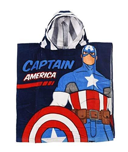 Badetuch Bademantel Kapuzen Poncho für Kinder Baumwolle – wählbar: Super Wings Cars Avengers Mickey Paw Patrol Spiderman Ninja Superman – tolles Geschenk für Jungen (Captain America)