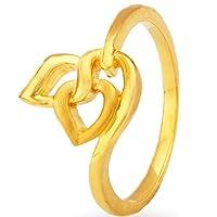 Satfale Jewellers 認定固体22Kイエロー細かいハート形デザイン女性指輪 ゴールド