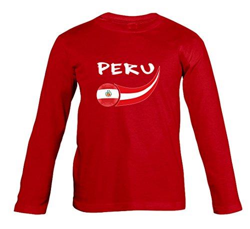 Supportershop Perú - Camiseta de Manga Larga para niño, Niñas, 5060542529822, Rojo, FR : L (Taille Fabricant : 8 ANS)