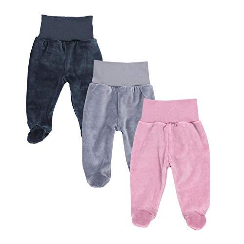TupTam Mädchen Nicki Baby-Hose mit Fuß 3er Pack, Farbe: Farbenmix 1, Größe: 56