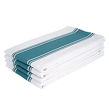 The Homemakers Dish Kitchen Towels Vintage Striped 100% Cotton Tea Towel 20 x 28 inch Set of 4, Teal Green