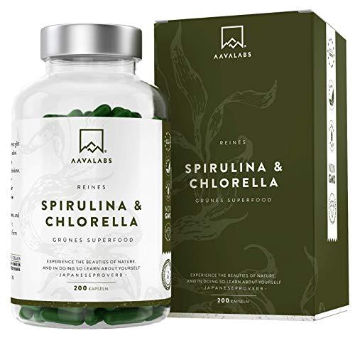 Bio Spirulina Chlorella Algen Kapseln - [ 1800 mg ] - 200 Pulver Kapseln - Hochdosiert, 100% vegan und glutenfrei - Hochwertige Pflanzeninhaltsstoffe aus Spirulina Alge - In Europa hergestellt.