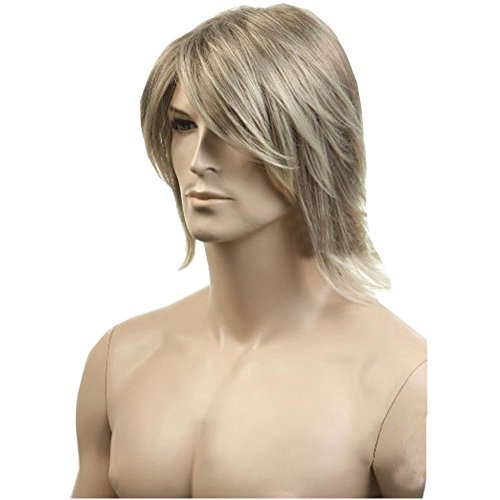 KOLIGHT Perruque courte en lin doré pour homme - Aspect naturel