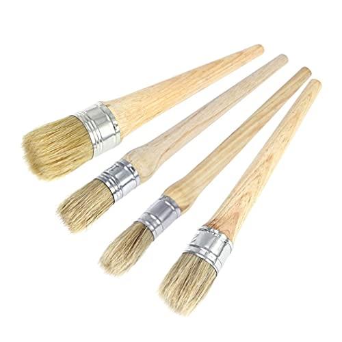 LIXBD 4 pinceles de cera profesionales para pintura con cerdas naturales para muebles de pintura folkart, 20 mm, 25 mm, 30 mm, 40 mm (color: como se muestra, tamaño: 26 mm)