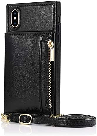 SLDiann Case for iPhone Xs MAX, Zipper Wallet Case with Credit Card Holder/Crossbody Long Lanyard, Shockproof Leather TPU Case Cover for iPhone Xs MAX (Color : Black)