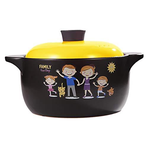 Pots et casseroles Pot à haute température cuisine (Couleur : Le jaune, taille : 3.5l)