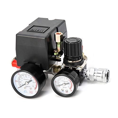 QWORK Válvula de control del interruptor de presión del compresor de aire, regulador de presión de 90-120PSI con juego de accesorios de manómetros