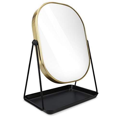 Navaris Kosmetikspiegel Schminkspiegel Tischspiegel mit Schmuckaufbewahrung - Spiegel zum Schminken und Frisieren - Standspiegel mit Aufbewahrung