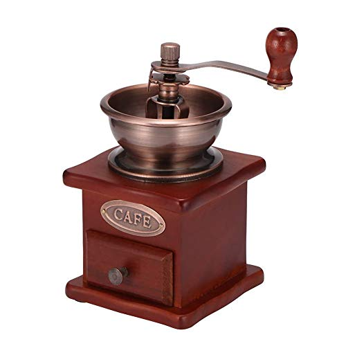 Vintage Manual Coffee Grinder- Retro Houten Coffee Bean Spice Hand Koffiemolen Mill Verstelbare Grofheid Ceramic Mill (Brown)