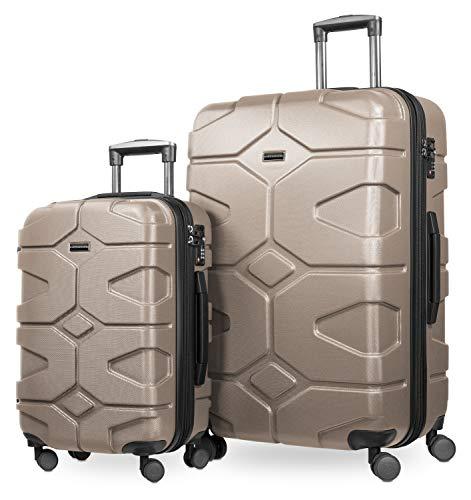 Hauptstadtkoffer - X-Kölln - Set of 2 Hard-side Luggages Trolley Expandable Suitcase 4 Wheel Spinner, TSA Lock, (S/L), Gold