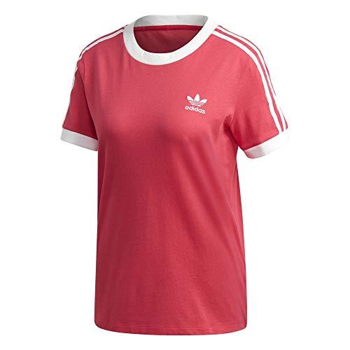 adidas Camiseta para mujer con 3 rayas. rosa y blanco 32