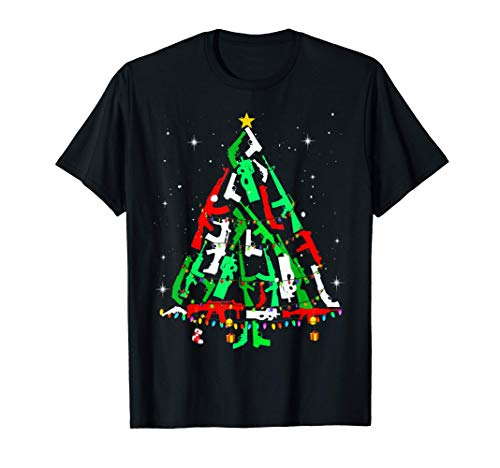 Guns Christmas Tree Xmas Gift For Lover Guns T-Shirt