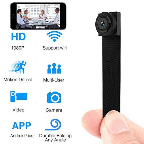Cámara Oculta espía, Mini cámara inalámbrica Wi-Fi HD 1080P App Mini portátil Covert Security CAM detección de Movimiento ( Color : +128G Memory Card )