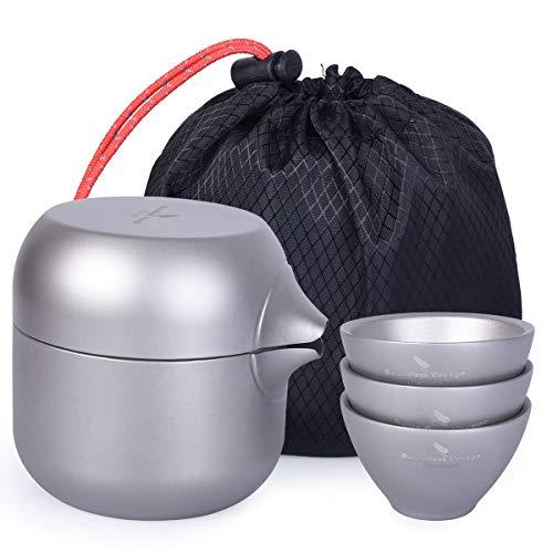 iBasingo Ti15104I Dubbellaagse theepot met 3 titanium kopjes theepot theeset voor outdoor indoor camping