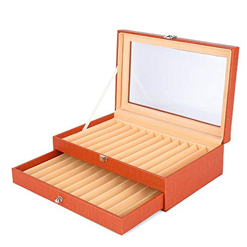 TFCFL Pen Display Box, 24 Pcs Leather Fountain Pen Box 2 Level Display Case Holder Organizer Storage Collector(US Stock) (Orange)