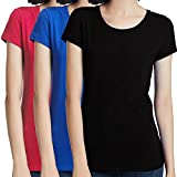 keloyi t-shirt donna estivi nero e blu e rose manica corta slim fit girocollo in cotone pacco da 3 - xl