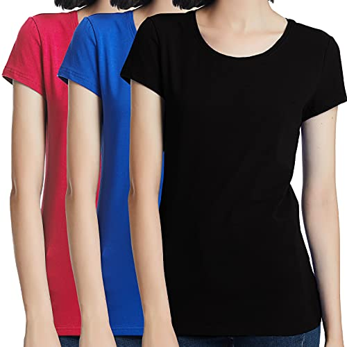 KELOYI T Shirt Donna Estivi Nero e Blu e Rosa Manica Corta Slim Fit...