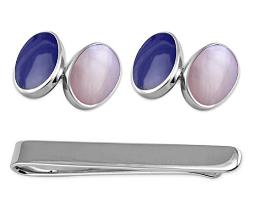 Sterling Silver Cufflinks Lapis and Pink Shell Tie Clip Set