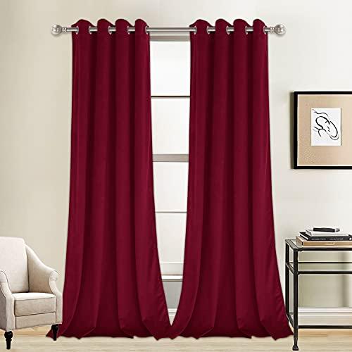 LUSHLEAF 2Panels Burgundy Velvet Curtains 84 Inches Blackout Velvet Curtains Panels Thermal Insulated Room Darkening Grommet Window Drapes for for Bedroom/Living Room