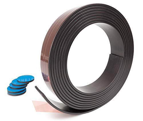 Prime Stuff [3 m] Magnetband selbstklebend und zuschneidbar mit 5 Magneten, Magnetklebeband für extrem starken Halt, Magnetstreifen, Magnetleiste