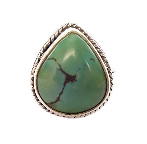 TIBETAN SILVER 925 Plata ESTERLINA HALLMARKED Natural Turquesa Gemstone Handmade Rings by Artesanos