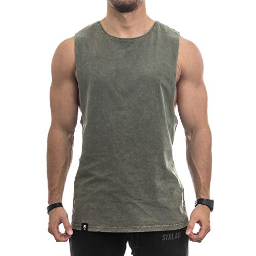Sixlab Vintage Washed Cut Off Tank Top Herren Muskelshirt Gym Fitness (S, Olive)