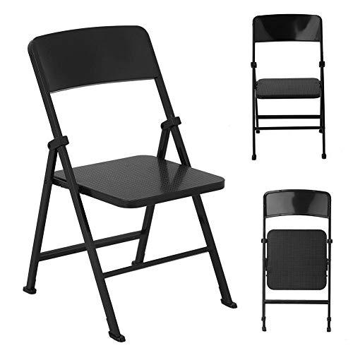 1/6 escala casa de muñecas silla plegable en miniatura simulación de metal silla muebles pequeña casa de muñecas muebles modelo juguetes para muñecas figura de acción(Black)
