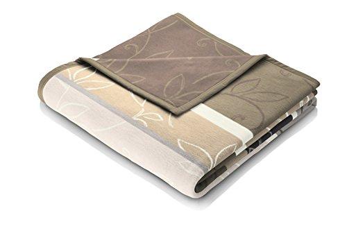 Biederlack Wohn- und Kuscheldecke, 60 % Baumwolle, Veloursband-Einfassung, 150 x 200 cm, Braun, Orion Cotton Vintage Leaves, 646347