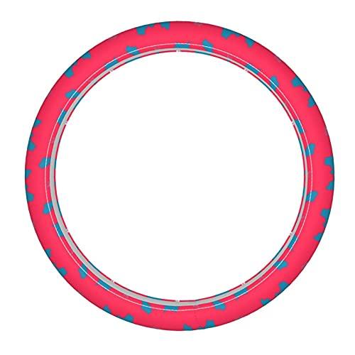 Cubierta para volante de coche tropical brillante pastel rojo y azul flores dibujadas a mano piel microfibra cubierta de volante transpirable antideslizante y libre de olores