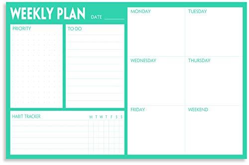 Wochenplaner-Block – Abreißbarer Schreibtisch-Planungsblock mit Priorität, To-Do-Liste, Wochenplaner & Kalender und Gewohnheiten-Tracker, 60 undatierte Blätter, Wochenplaner Notizblock, 23 x 15 cm