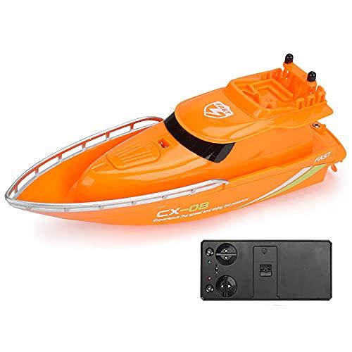 WZRYBHSD Lancha Rápida RC Barco De Control Remoto Impermeable De Alta Velocidad Mini Embarcación De Carreras De Juguete Con 8 Minutos De Tiempo De Juego, Potente Juguete De Piscina De Motor Para Niños