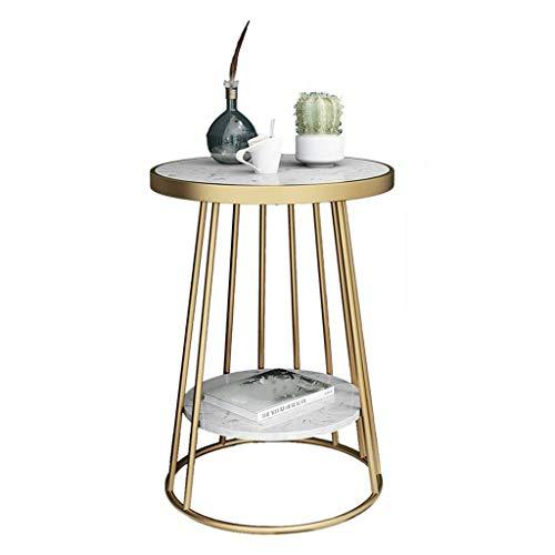 LYN Bijzettafel, metalen metalen marmer bijzettafel, kleine salontafel, smeedijzeren gouden ronde tafel, voor huis, slaapkamer, woonkamer, tuin, buiten