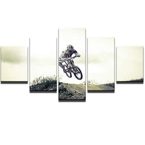 YXBNB 5 Leinwandbilder Kunst Home Decor Bild 5 Stück/Stück Leinwand Malerei Fahrrad Jump Mountain Moderne Drucke für Wohnzimmer Modulare HD-Wand