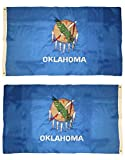 Trade Winds 3x5 Embroidered State of Oklahoma Premium Quality Fade Resistant Heavy Duty Sewn Nylon Flag 3 x5  Grommets Double Sided